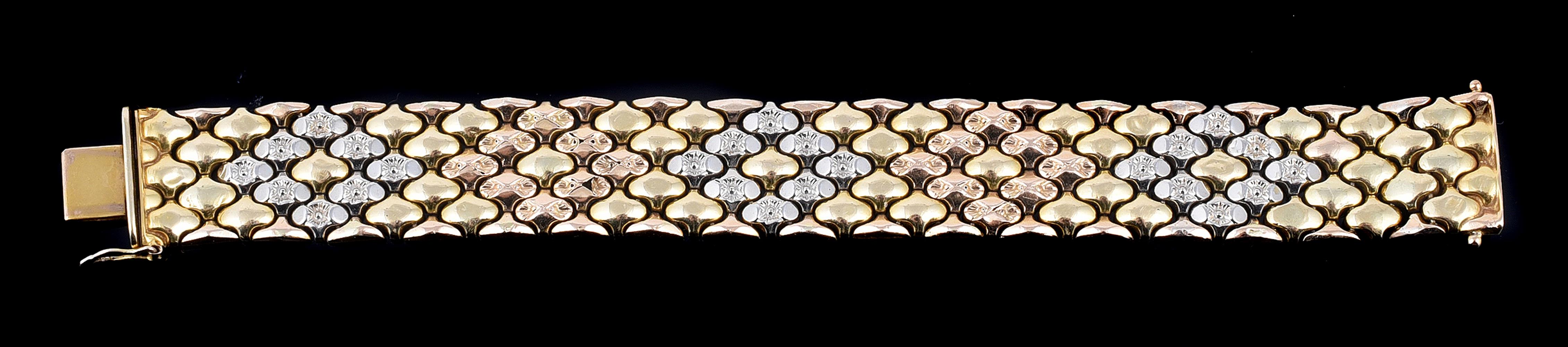An Italian three colour broad bracelet by Gino Marchiori