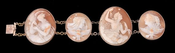 A late Victorian shell cameo bracelet