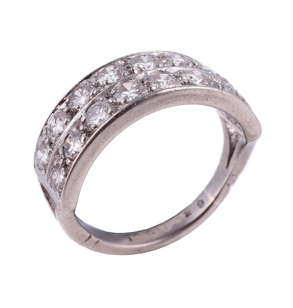 A diamond two row ring