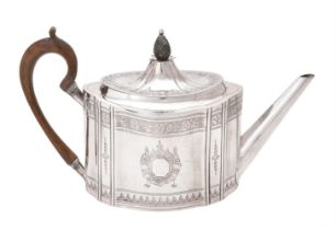 A George III Irish silver shaped oval tea pot