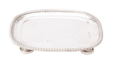 A George III silver oblong tea pot stand by Spooner Clowes & Co.