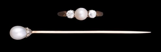 A 1920s three stone diamond and cultured pearl ring