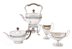 A silver matched four piece octagonal tea set by Edward Barnard & Sons Ltd.