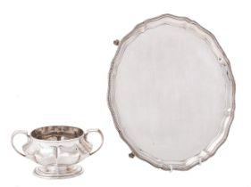 A silver shaped circular salver by Barker Ellis Silver Co.