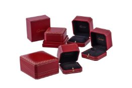 Cartier, five red leather boxes