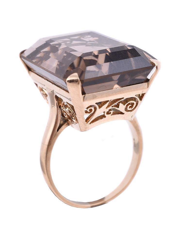 A smokey quartz dress ring