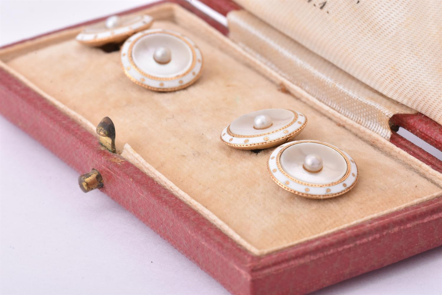 Y A pair of early 20th century mother of pearl and pearl cufflinks and six cased buttons - Image 3 of 3