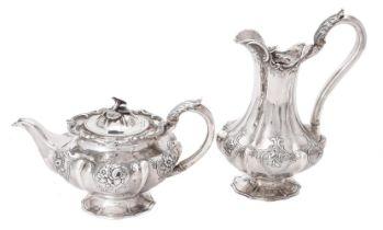 Y A Victorian silver lobed circular tea pot and hot water pot by Benjamin Smith III