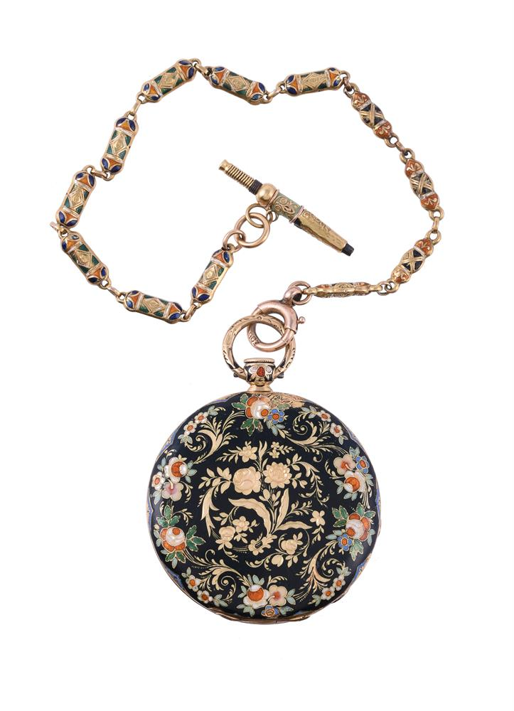 Unsigned, Gold coloured and enamelled slimline pocket watch - Image 2 of 2