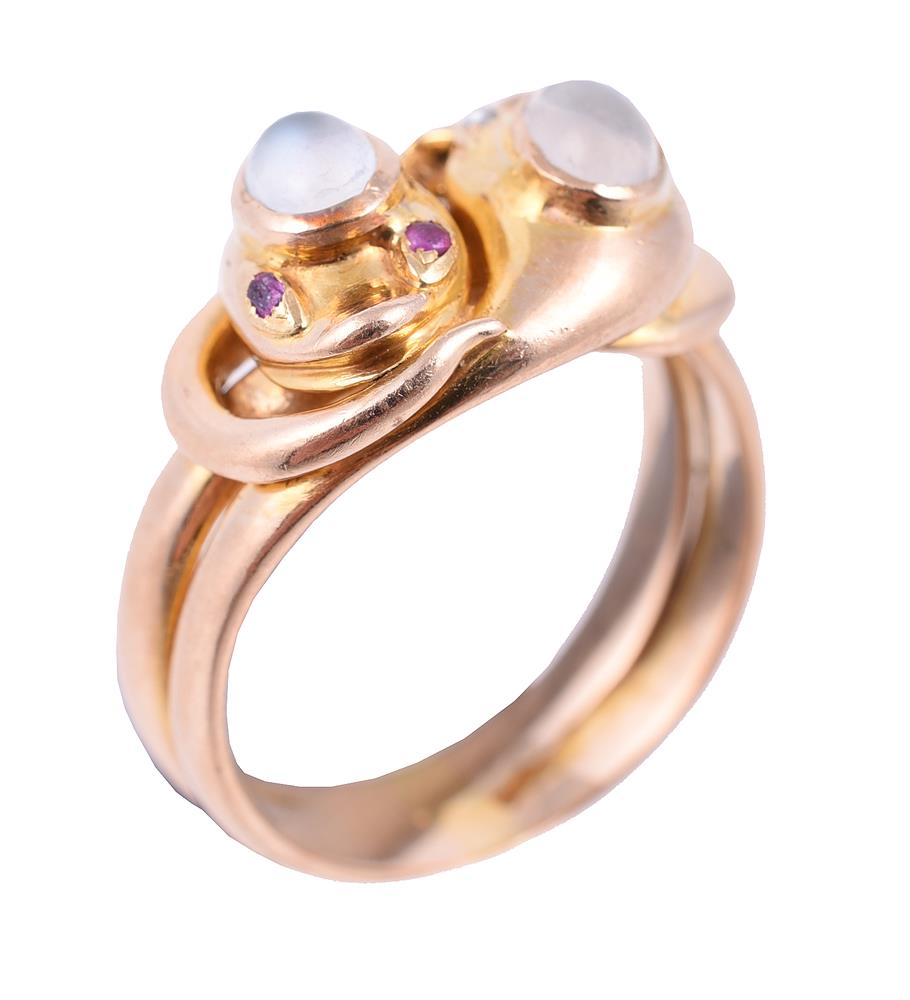 A late Victorian moonstone, ruby and diamond double serpent ring