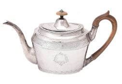 Y A George III silver oval tea pot by Henry Chawner