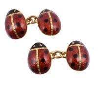 A pair of enamelled ladybird cufflinks