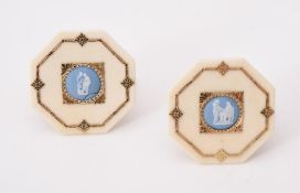 Y A pair of Victorian ivory and gilt metal menu holders