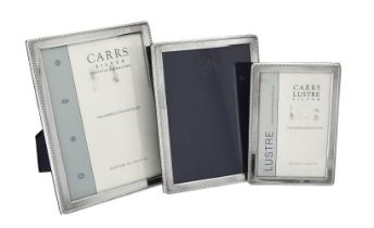 Three silver mounted rectangular photo frames by Carr's of Sheffield Ltd.