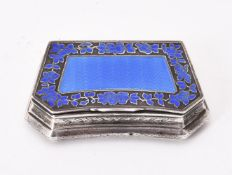 A French silver and enamel shaped rectangular box and cover