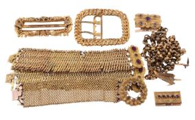 A collection of gilt metal jewellery from the first half of the 19th century
