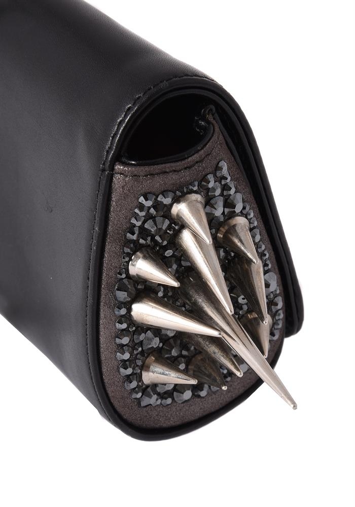 Christian Louboutin, a black leather and spiked clutch bag - Image 3 of 4