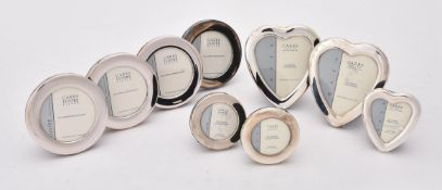 Six silver mounted circular photo frames by Carr's of Sheffield Ltd.
