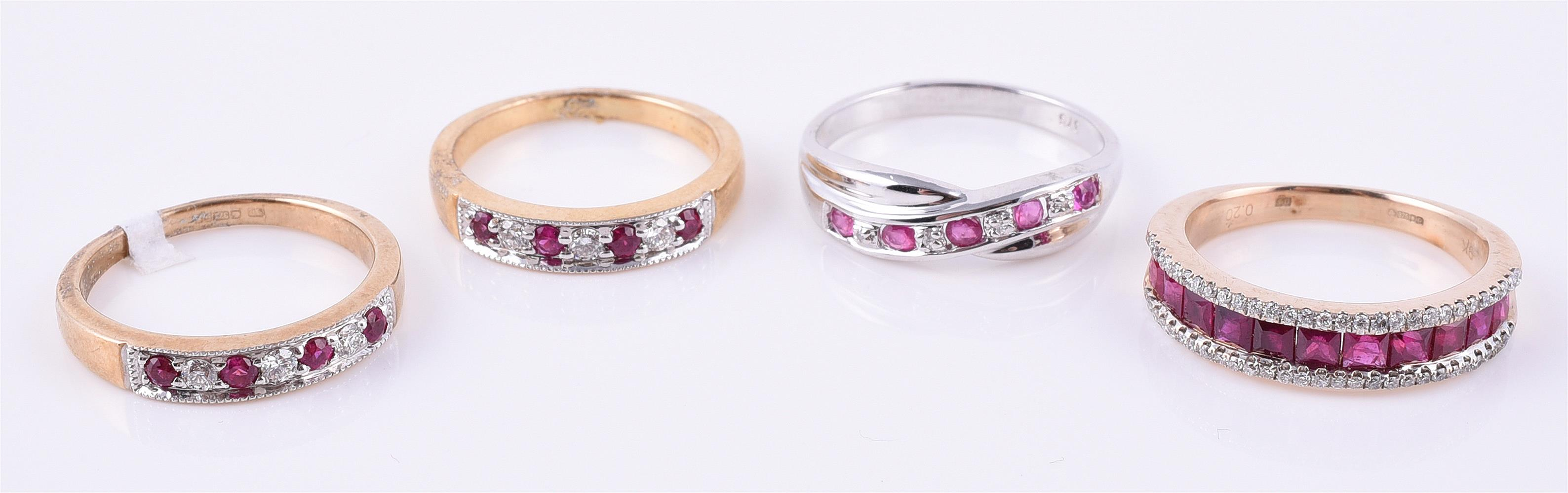 Two 9 carat gold ruby and diamond rings