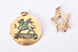 Regimental interest, a mid 20th century The Buffs (Royal East Kent) Regiment locket