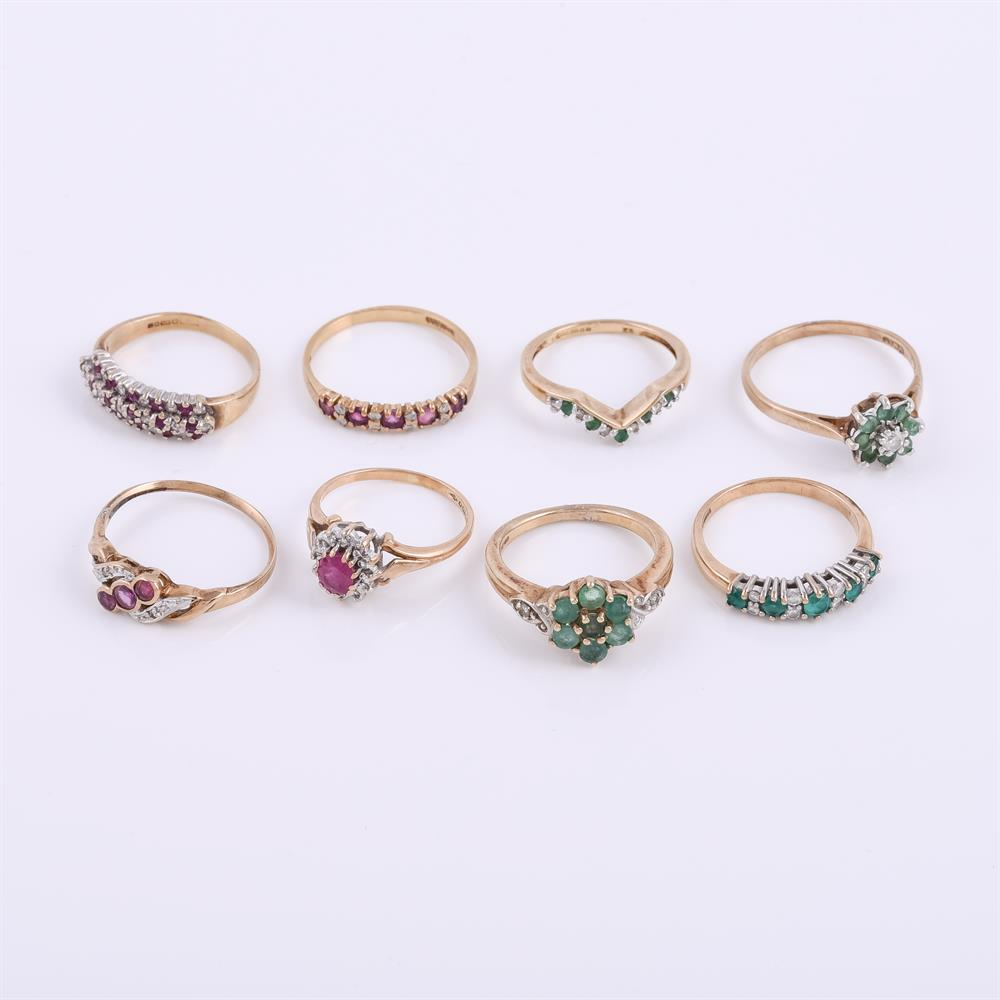 A collection of eight 9 carat gold rings