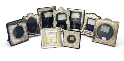 Nine silver mounted photo frames