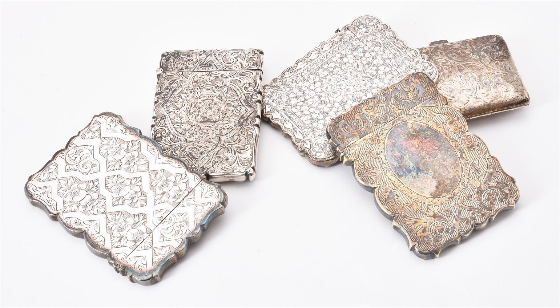 A Victorian silver shaped rectangular card case by Hilliard & Thomason