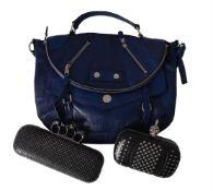 Alexander McQueen, a blue leather handbag