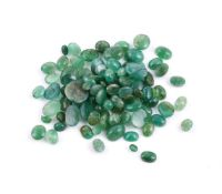 † A packet of cabochon emeralds
