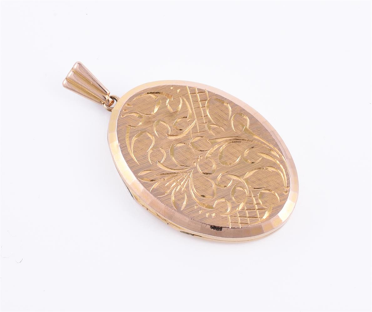 A 1970s oval 9 carat gold locket by Georg Jensen