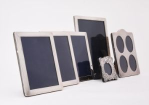 A collection of six silver mounted photo frames