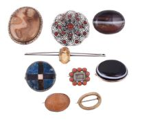 Y A small collection of antique and later brooches