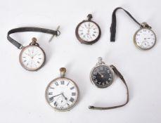 A white metal open face keyless wind pocket watch
