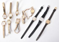 A collection of Omega ladies wrist watches