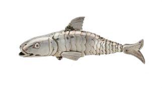 A Dutch silver coloured articulated fish box