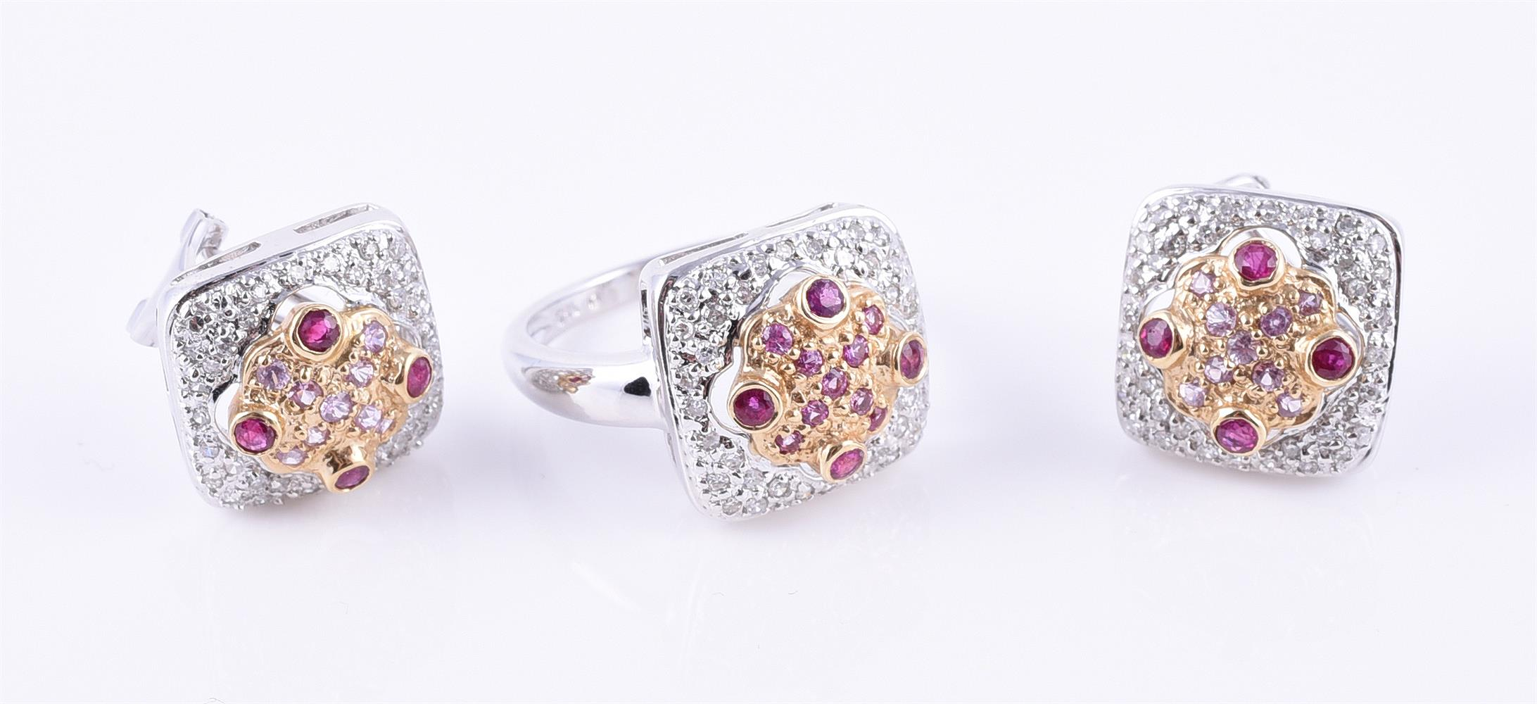 A ruby, diamond and pink sapphire ring and earring suite