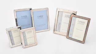 Six silver mounted rectangular photo frames by Carr's of Sheffield Ltd.