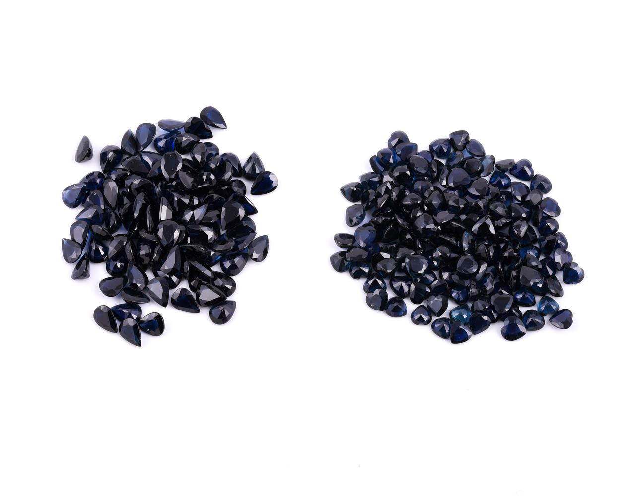 † Two packets of unmounted sapphires