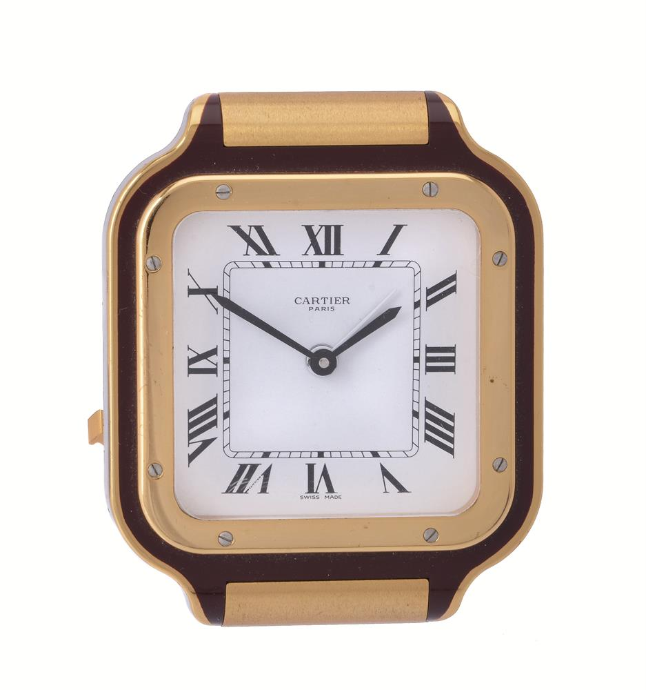 Cartier, Ref. 7508, a brass and brown lacquer desk alarm clock