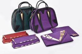 George Angelopoulos, a purple and black leather handbag