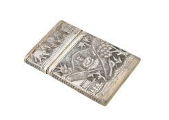 An Indian silver coloured card case