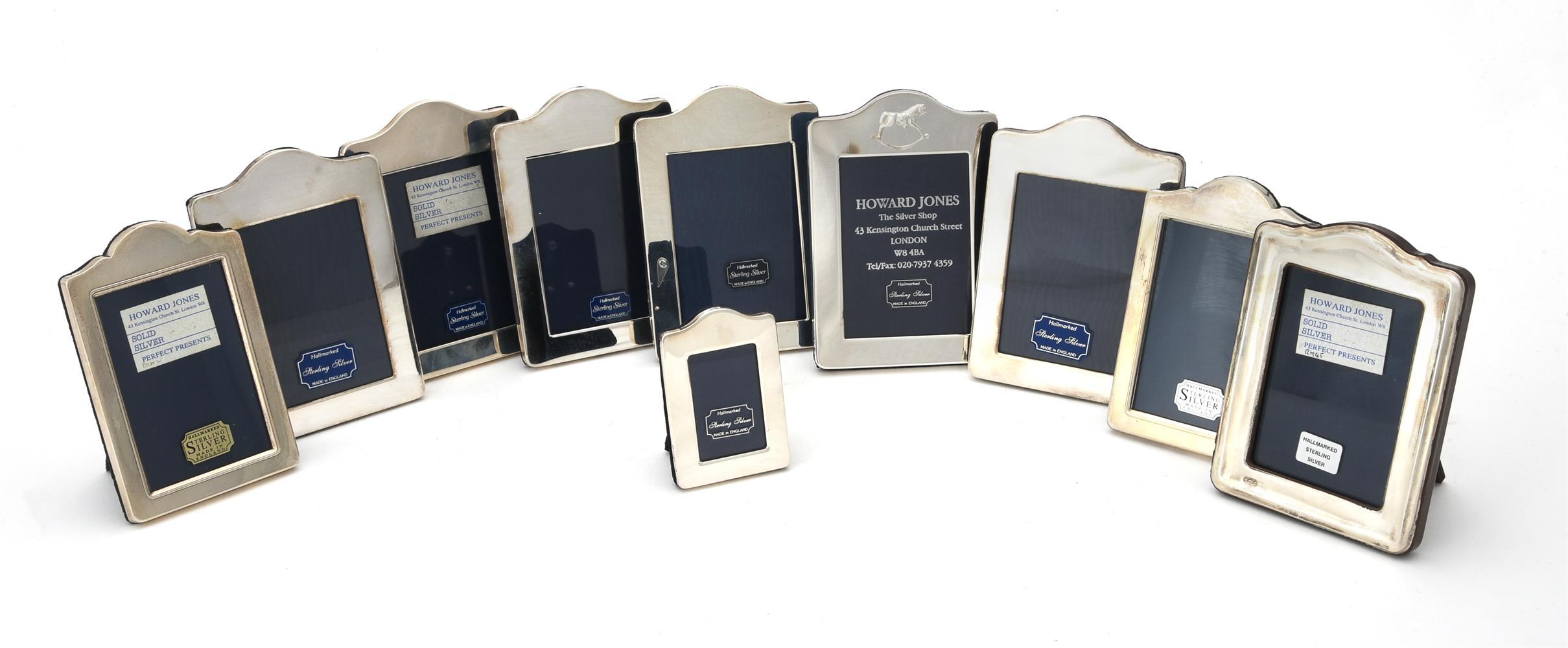 Ten silver mounted shaped rectangular photo frames