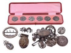 A collection of antique silver jewellery