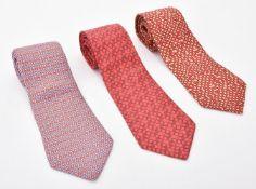 Hermes, three silk ties