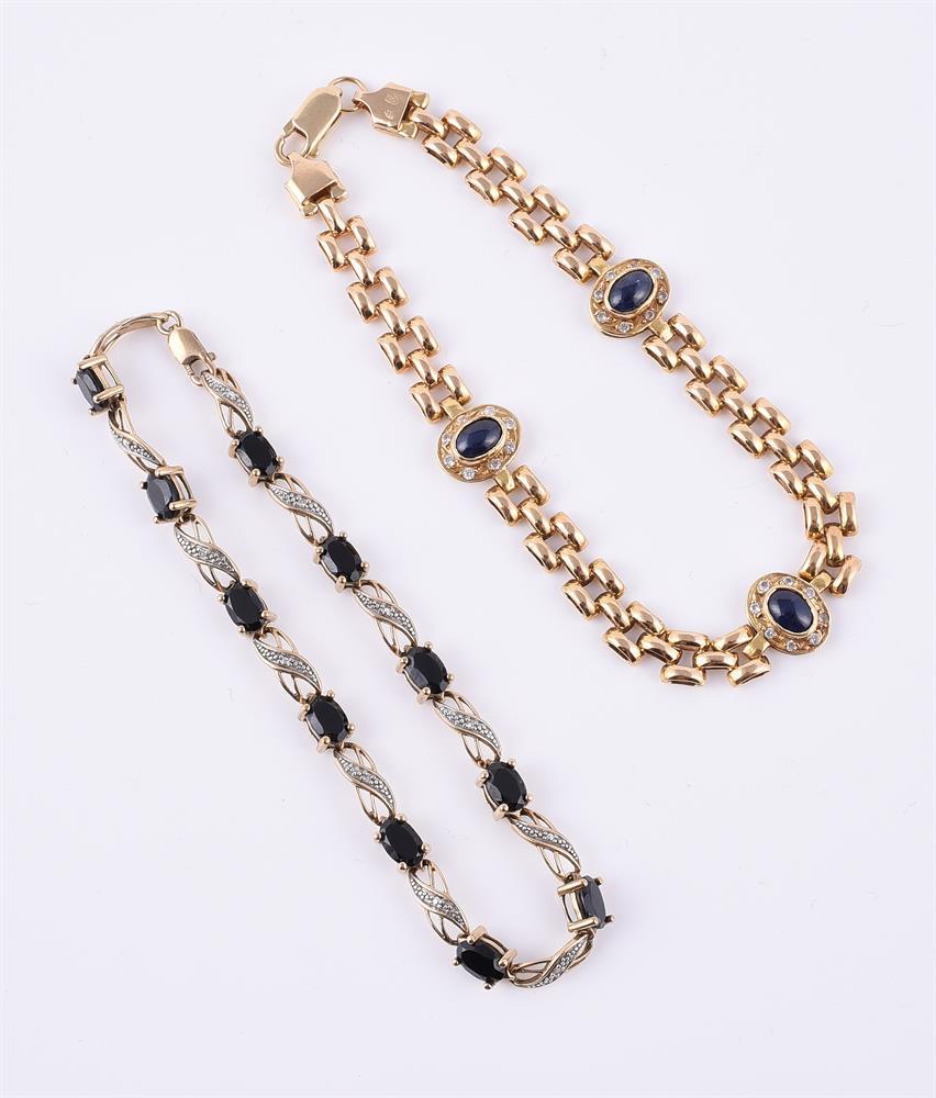 Two sapphire and diamond bracelets