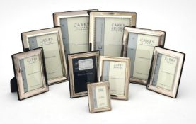 Nine silver mounted rectangular photo frames