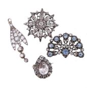 A small collection of 19th century paste jewellery
