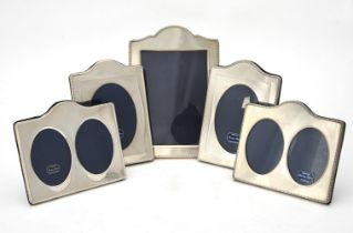 Five silver mounted photo frames