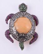 An opal and gem set tortoise brooch