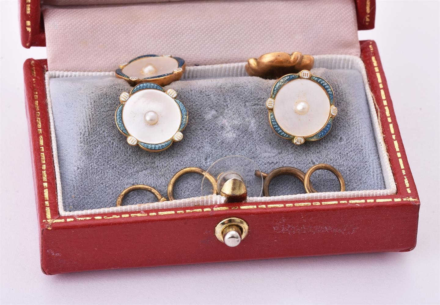 Y A four early 20th century mother of pearl and enamel buttons - Image 4 of 4